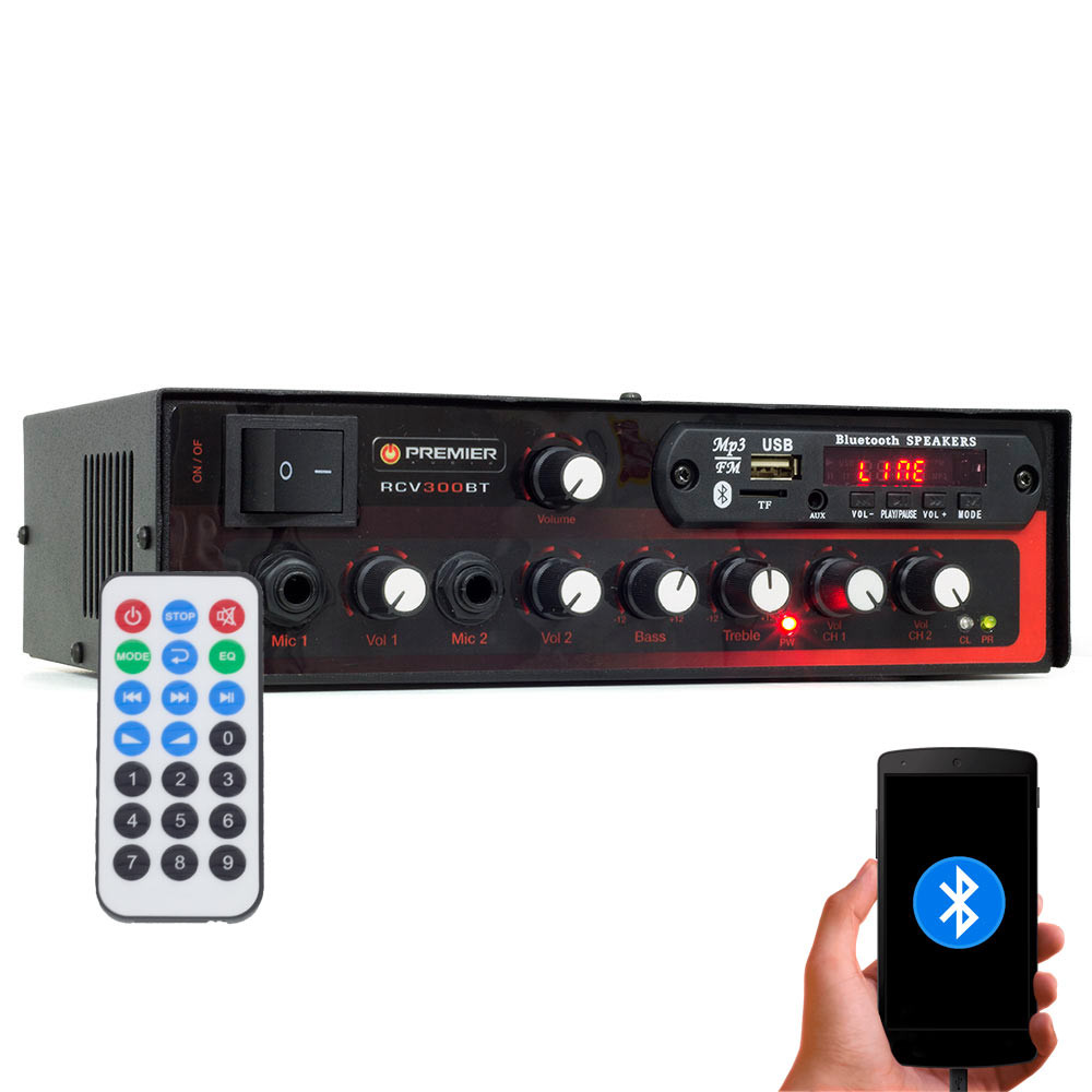 Receiver para Som Ambiente Premier Audio Slim RCV300BT Bluetooth, USB e SD - 2 Canais - 300 Watts RMS