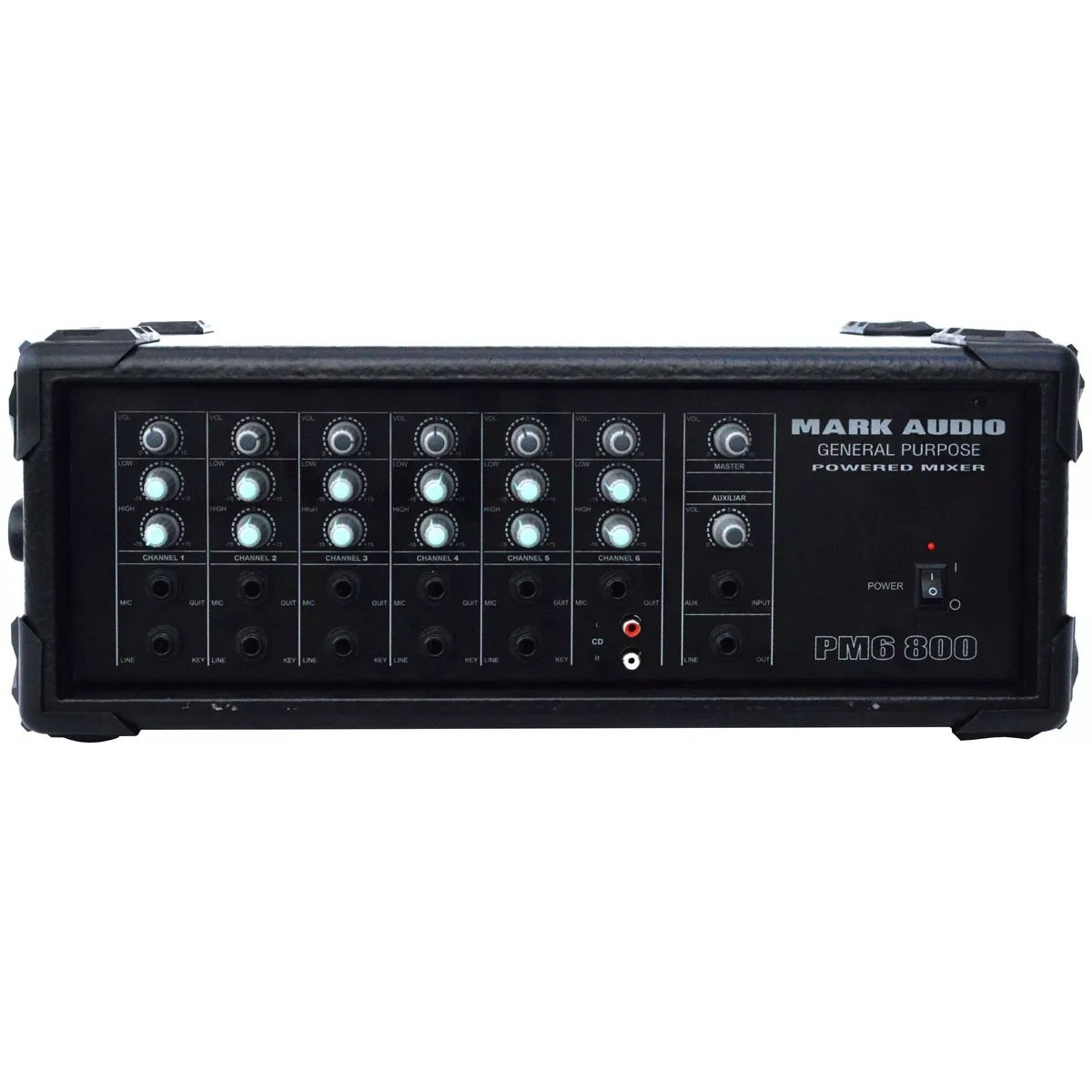 Cabeçote Amplificador Mark Audio com Mixer PM6-800 - 6 canais - 175 Watts RMS