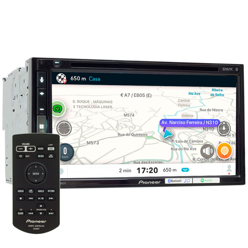 "Central Multimídia Pioneer 2 Din AVH-Z5280TV Tela 6,8 ""Apple Car Play, Android Auto e WebLink"