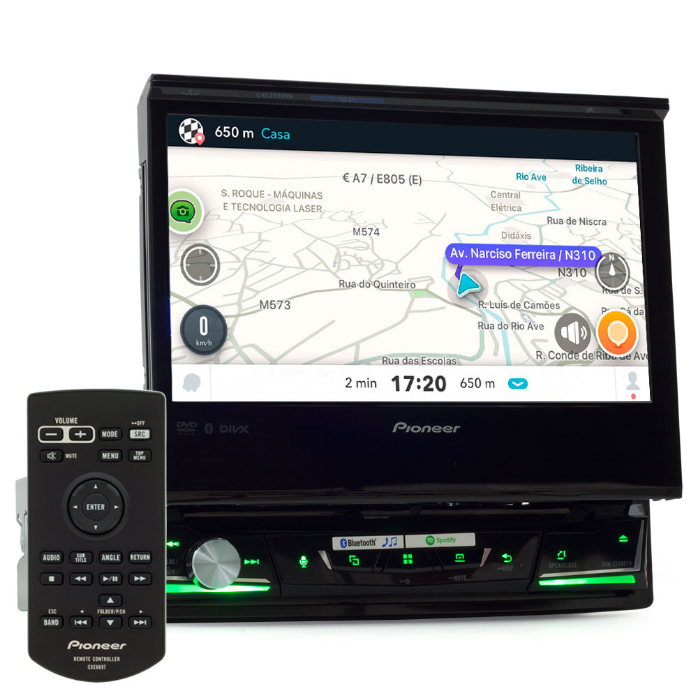 "Central Multimídia Pioneer Retrátil 1 Din AVH-Z7280TV Tela 7"" Apple Car Play, Android Auto e WebLink"