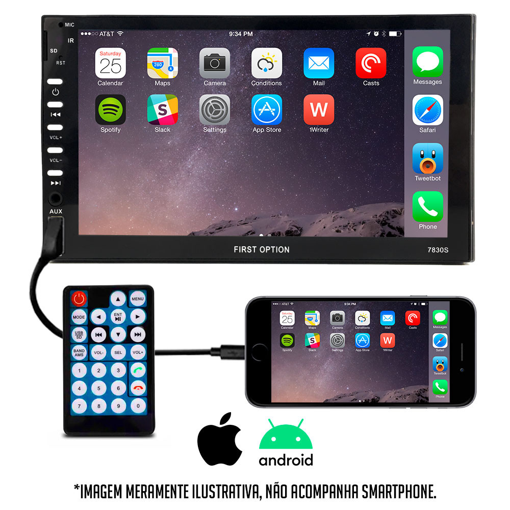 "Central Multimídia 2 Din First Option 7"" Universal Bluetooth Espelhamento Android iOS Com Controle"