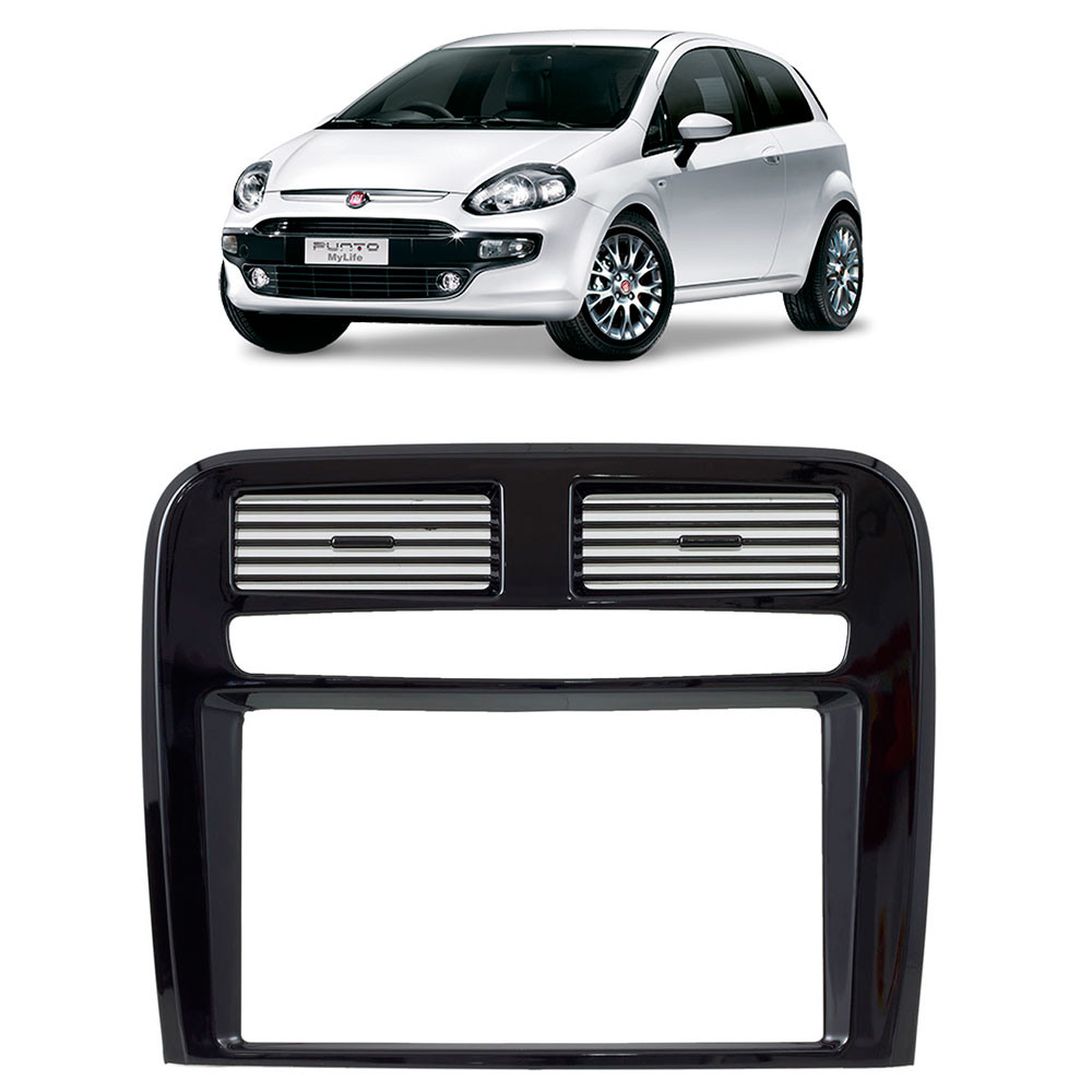 Moldura 2 Din Fiat Punto 08 A 12 Black Piano Acabamento Uv Protection 3331