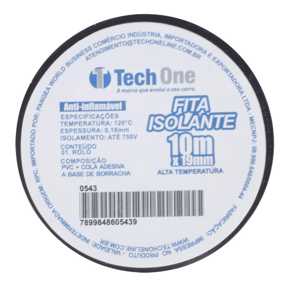 Fita Isolante Tech One Alta Temperatura 19mm - 10 metros