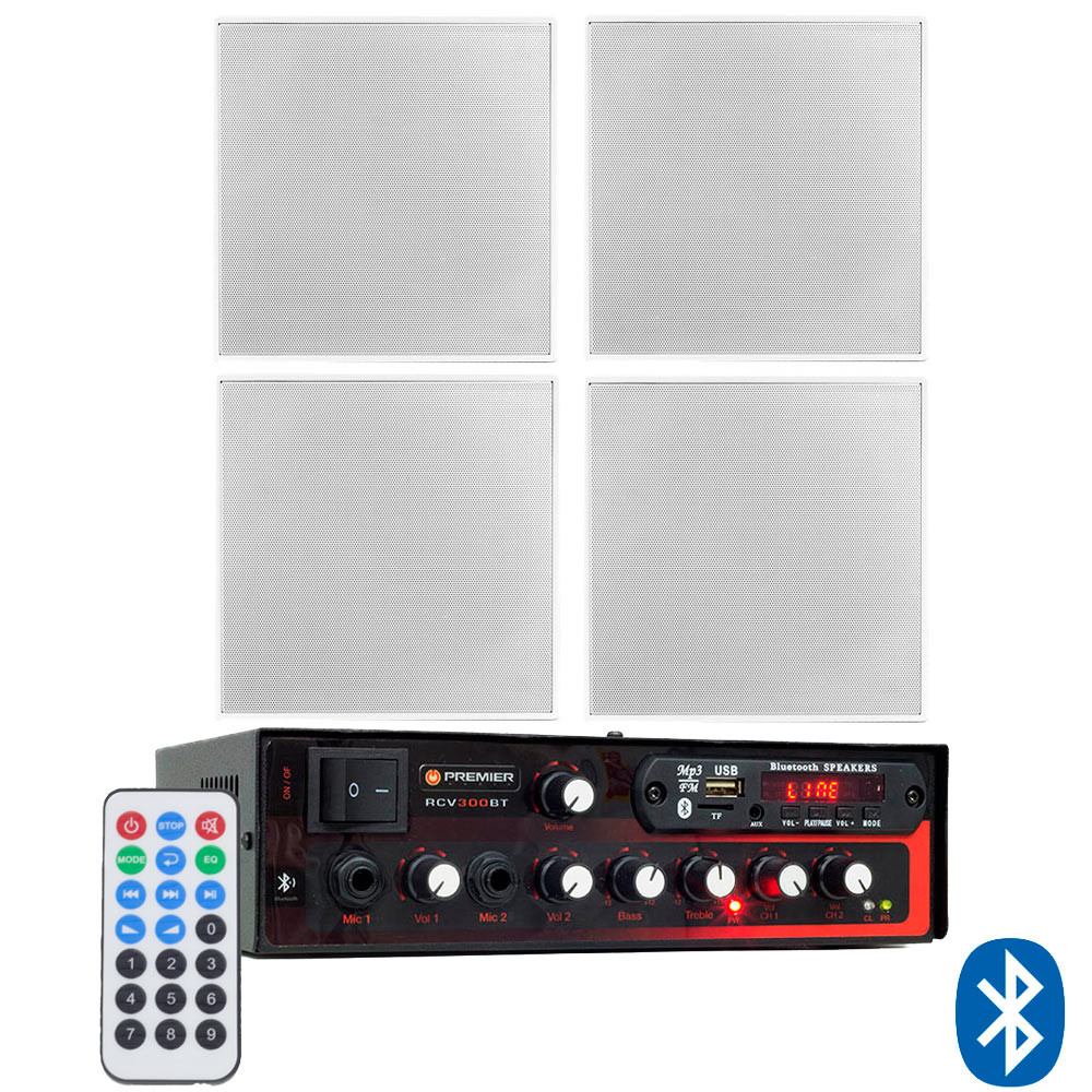 "Kit de Som Ambiente Premier Audio Slim RCV300BT Bluetooth + 4 Arandelas Frahm 6"" Borderless Quadradas"