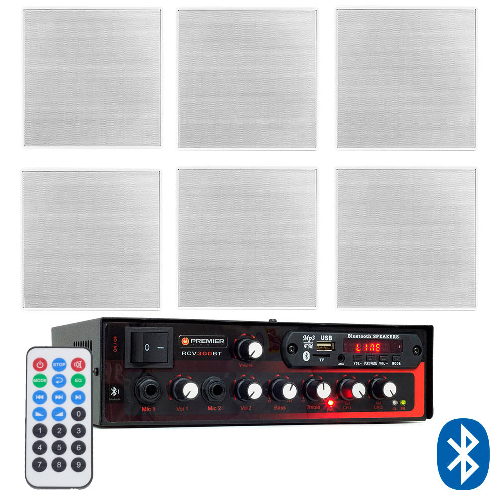 "Kit de Som Ambiente Premier Audio Slim RCV300BT Bluetooth + 6 Arandelas Frahm 6"" Borderless Quadradas"