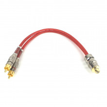 Cabo Y 2M/1F Technoise - Series 400P - 20 Cm - 5 Mm - Conector Metal - R - Vermelho