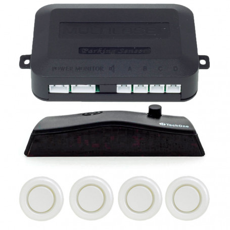 Sensor de Estacionamento 4 Pontos Branco Multilaser Universal com Display LED AU020