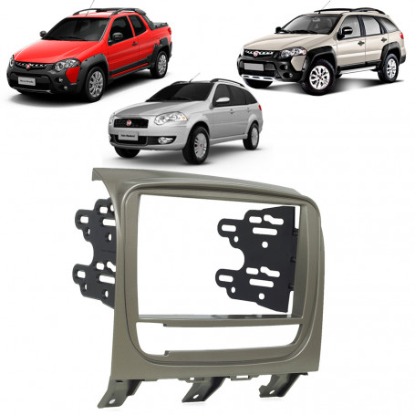 Moldura 2 Din Fiat Strada, Palio Weekend e Adventure 2013 a 2016 - Grafite