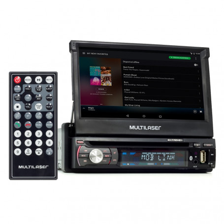 "DVD Player Automotivo Multilaser Extreme+ Retrátil GPS, TV 7"" USB, SD, Aux, Bluetooth GP044 Outlet"