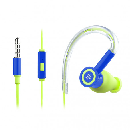 Fone de Ouvido Pulse In Ear Earhook Silicone Azul e Verde - PH223