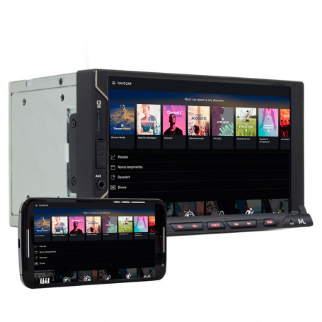 "Central Multimídia Multilaser 2 Din Evolve Fit S Espelhamento IOS Android Tela 7"" USB SD BT P3340"