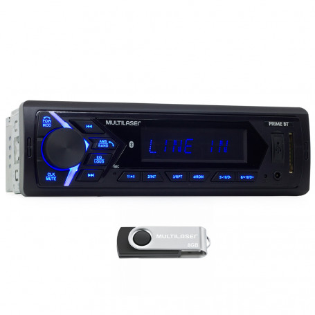 MP3 Player Automotivo Multilaser Prime BT Bluetooth, USB, SD e Aux - P3343