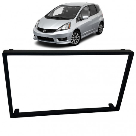 Moldura 2 Din Honda Fit 2004 a 2012 e City Dx 2009 a 2012 - Black Piano