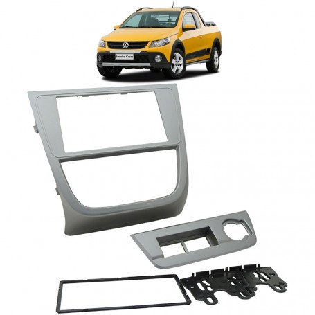 Moldura 2 Din VW G5 Saveiro Cross - Prata