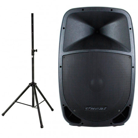Caixa de Som Profissional Oneal OPB-915BT Ativa Multiuso + Tripé Oneal - 180 Watts RMS