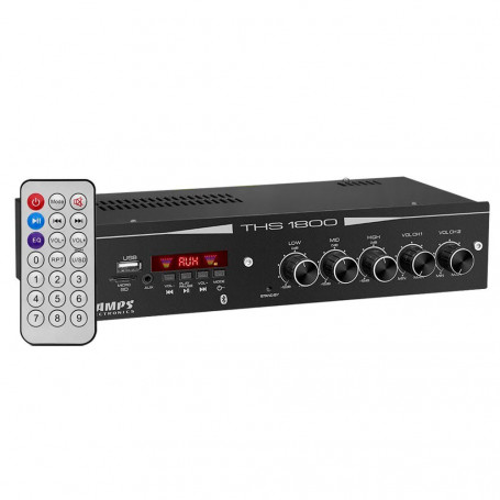 Amplificador Receiver Taramps THS 1800 Multi Canais USB SD Rádio Bluetooth 80W RMS Residencial Bar