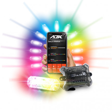 Kit Strobo Automotivo AJK Central BT 2 Faróis Led RGB Digital Bluetooth