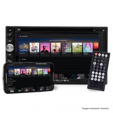 "Central Multimídia Multilaser 2 Din Evolve+ GPS, TV e Espelhamento Tela 6.2"" USB/SD/Aux/BT - Outlet"