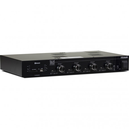 Receiver de Som Ambiente Frahm SLIM 4500 Multi Channel USB, SD, FM e Bluetooth - Até 60 Caixas