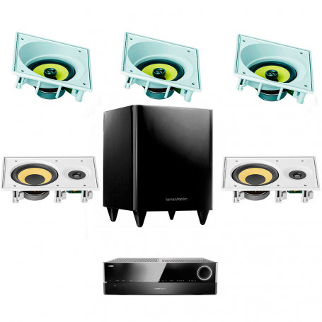 Kit Home Theater Receiver Harman Kardon, Arandelas JBL Anguladas e Subwoofer Ativo