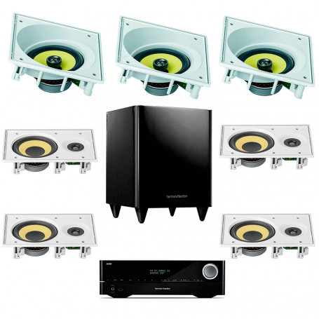 Kit Home Theater Dual Zone Receiver Harman Kardon, Arandelas JBL Anguladas e Subwoofer Ativo