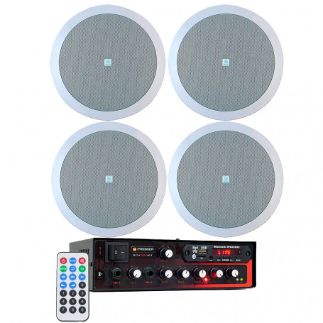 Kit de Som Ambiente Premier Audio Slim RCV300BT Bluetooth + 4 Arandelas JBL 6CO2R