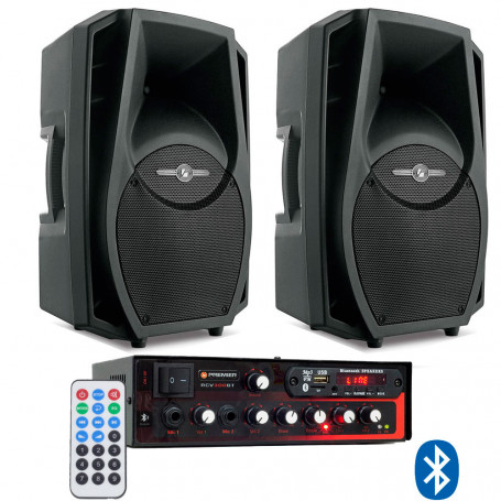 Kit de Som Ambiente Premier Audio Slim RCV300BT Bluetooth + 2 Caixas de Som Frahm PS 8