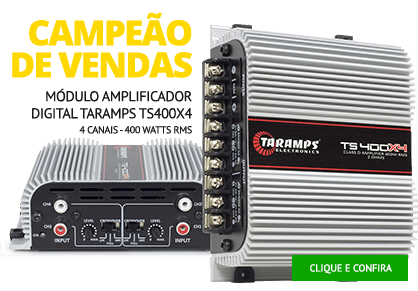 Módulo Amplificador Digital Taramps TS400x4 - 4 Canais - 400 Watts RMS
