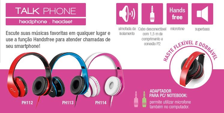 Fone de Ouvido Multilaser Talk Phone com Microfone para Celular - Branco e Rosa - PH114