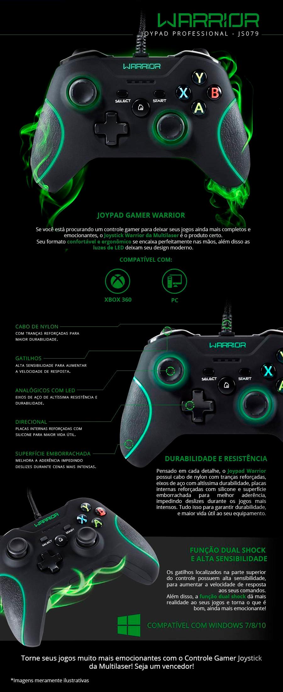 Controle Multilaser Warrior para PC e Xbox 360 Joystick Fio Nylon e Acabamento Emborrachado - JS079