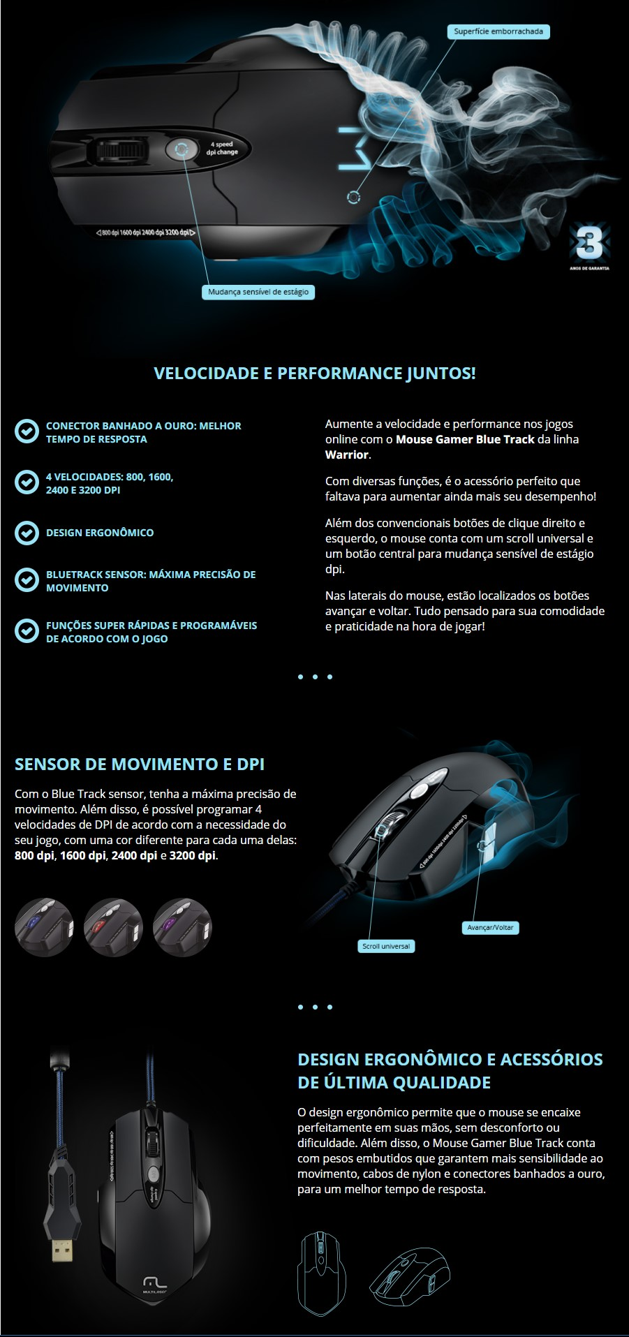 Mouse Multilaser Warrior Gamer Pro Laser 8 Botões 3200 DPI Preto USB + Mousepad - MO191