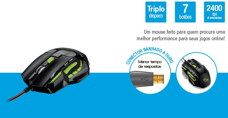 Mouse Multilaser Óptico XGamer Fire 2400 Dpi Preto e Verde USB - MO208